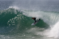Photo MARK JOHNSON/IRONSTRING. Remi Petersen at Jefferys Bay, South Africa. August 6, 2013.