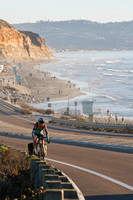 Photo MARK JOHNSON - Del Mar, California. Bike tourists on California's Highway 101 with Torrey Pines State Beach and La Jolla in the background.   November 14, 2010.