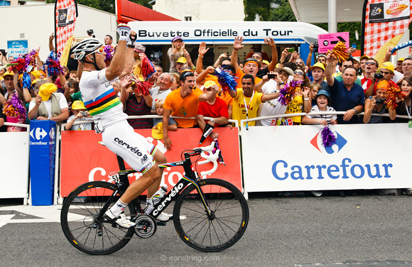 Photo MARK JOHNSON. Lourdes, France. July 15, 2012. Thor Hushovd wins stage 13 of the Tour de France from Pau to Lourdes.