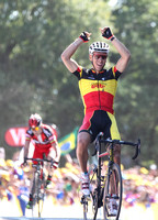 Philippe Gilbert wins stage 1 of the 2011 Tour de France atop Mont des Alouettes. July 2, 2011.